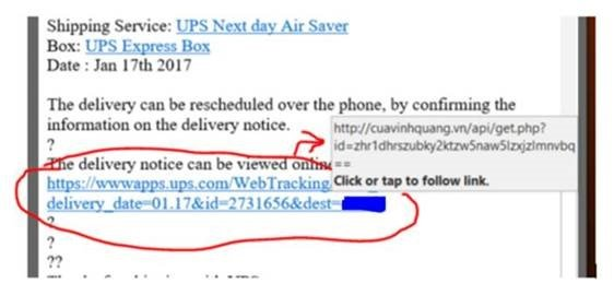 UPS fraud email