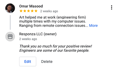 Responza IT Management, Support and Consulting Google Review